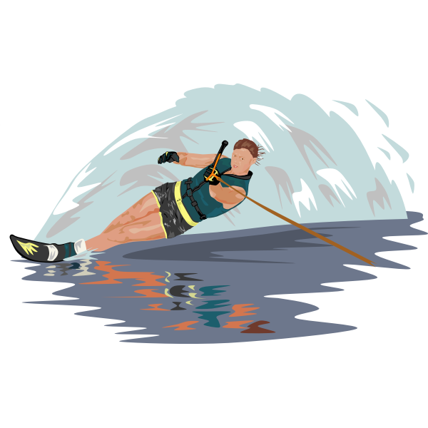 Vector image of water skier