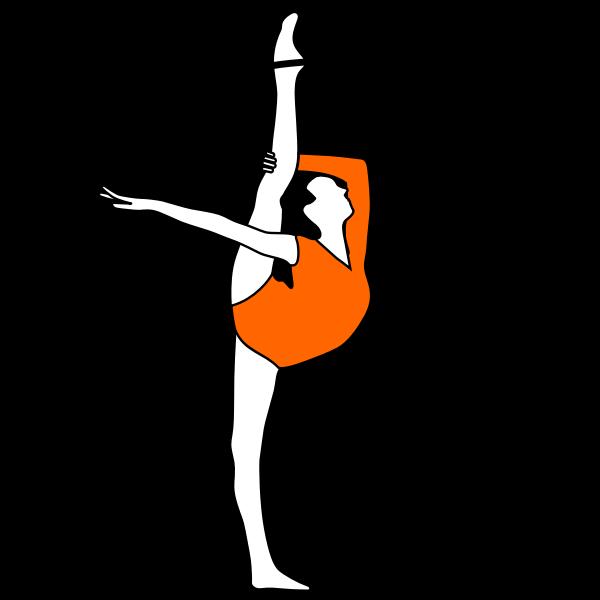Vector drawing of rhythmic gymnastics with bow