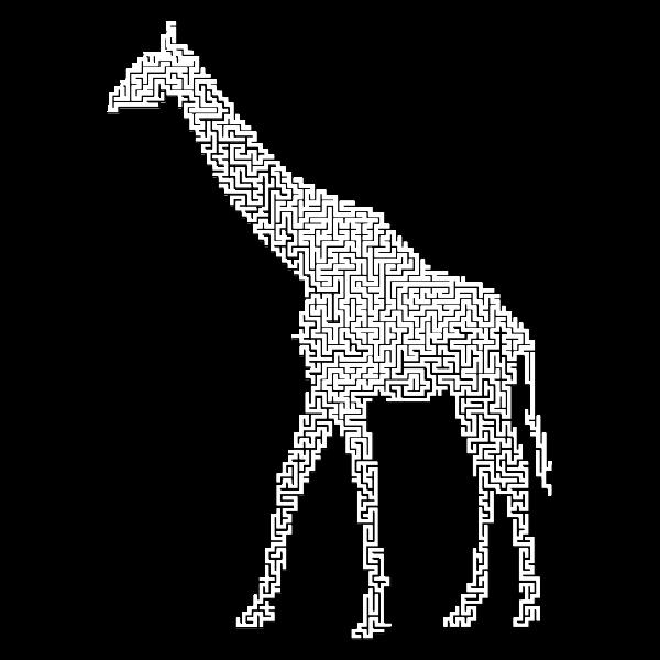 Giraffe Landscape Silhouette Minus Landscape Maze