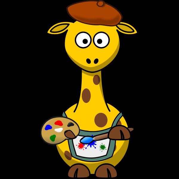 Painter giraffe vector illustration