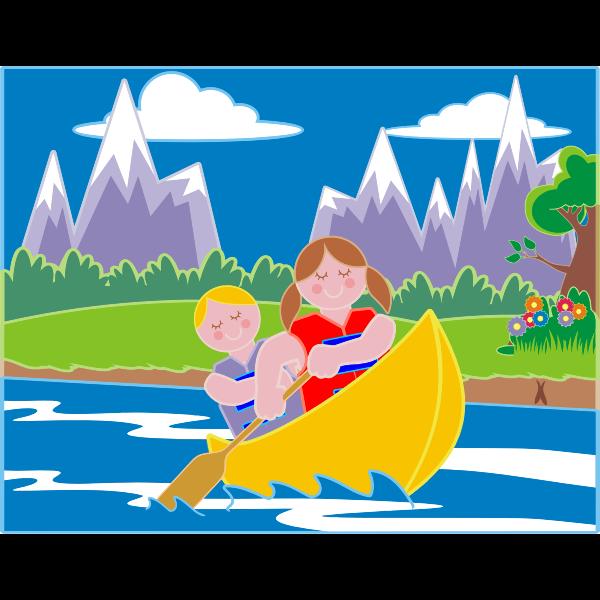 Girl And Boy Canoeing In Idyllic Landscape