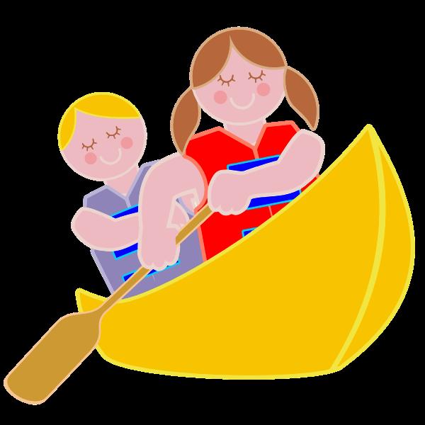 Girl And Boy Rowing In Canoe