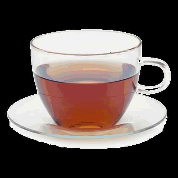 Glass teacup with saucer vector clip art
