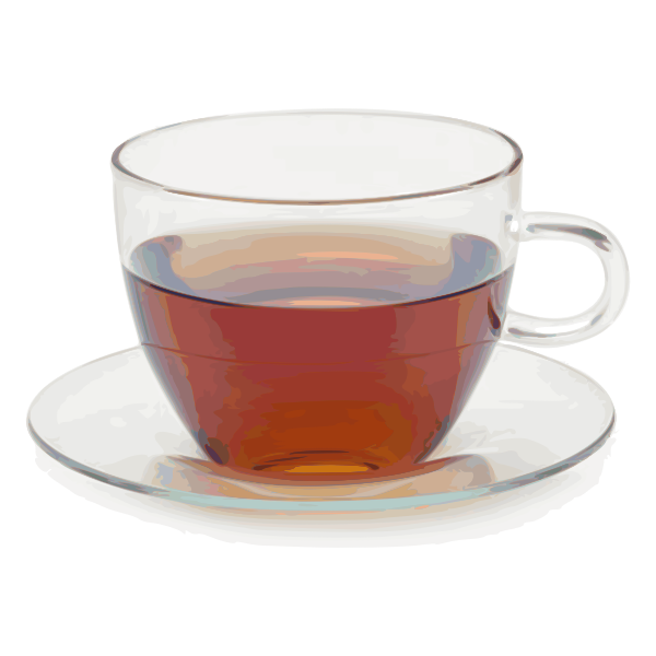 Glass teacup with saucer vector clip art
