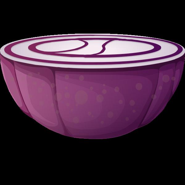Purple onion half