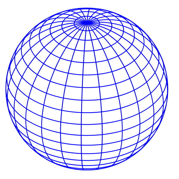 Vector illustration of blue wired globe