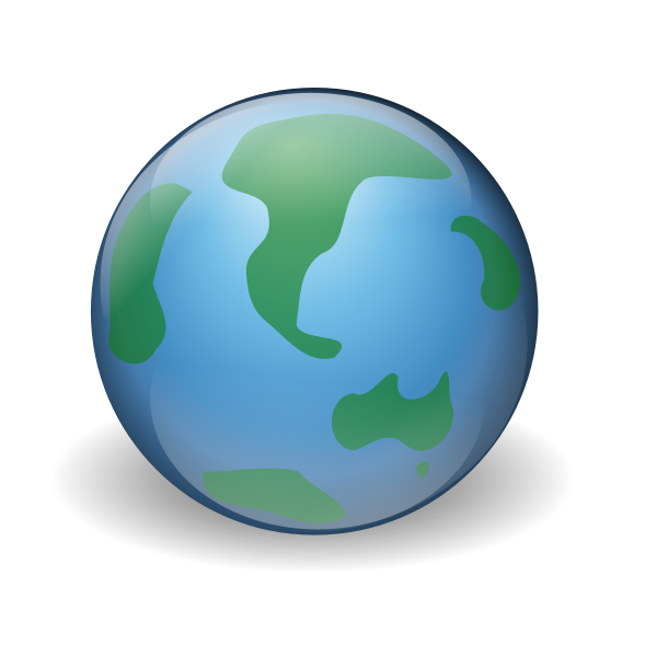 Green and blue world globe vector illustration