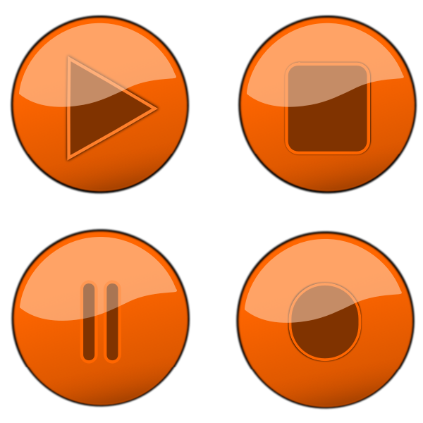 Orange player buttons vector graphics
