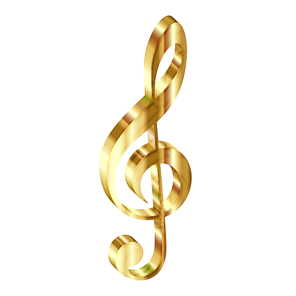 Gold 3D Clef Enhanced No Background
