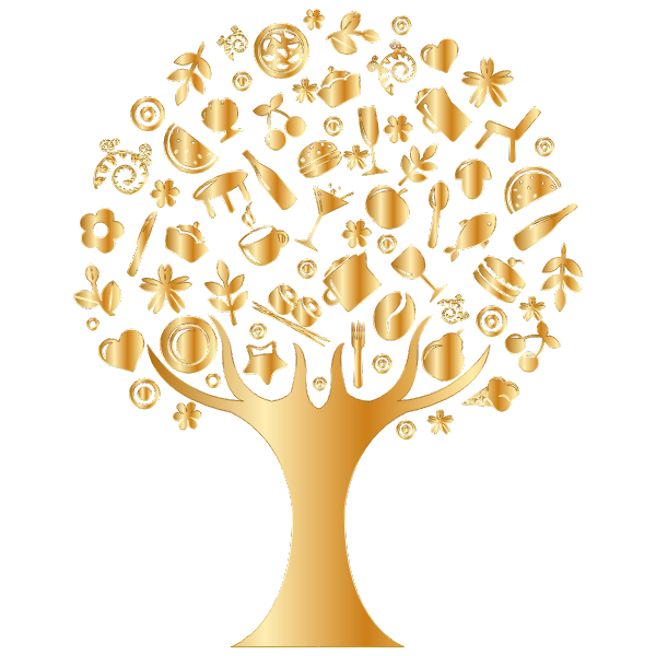 Gold Abstract Tree No Background