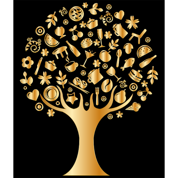 Gold Abstract Tree