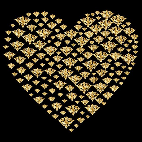 Gold Damask Heart No Background