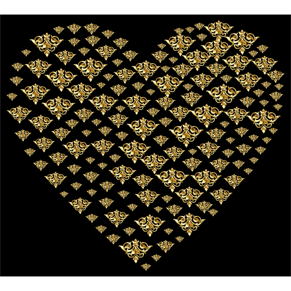 Gold Damask Heart