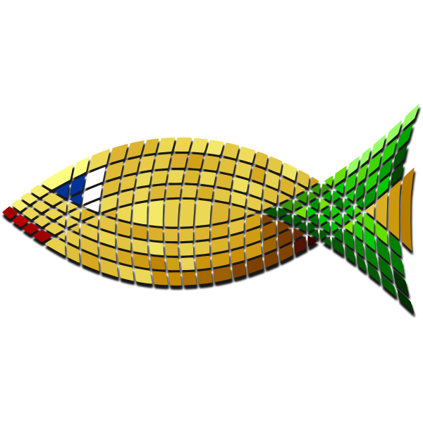Vector image of tiled golden fish