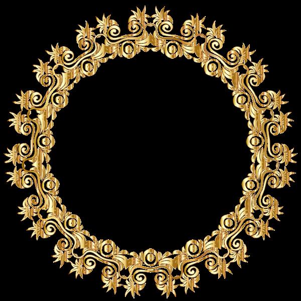 Gold Floral Flourish Motif Frame No Background