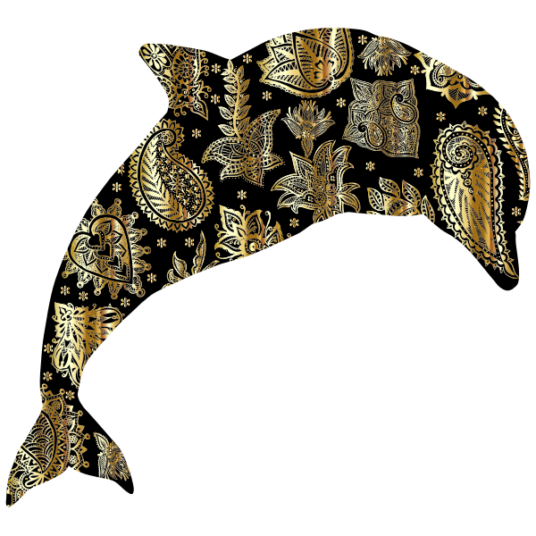 Gold Floral Pattern Dolphin