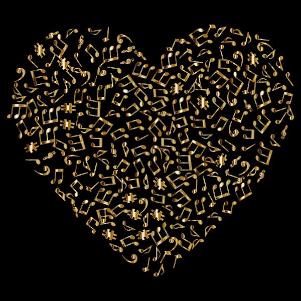 Gold Musical Heart 4 2