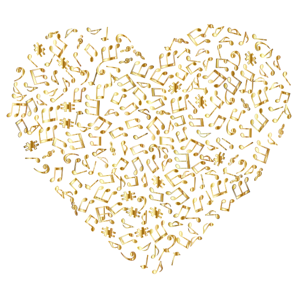 Gold Musical Heart 4 No Background