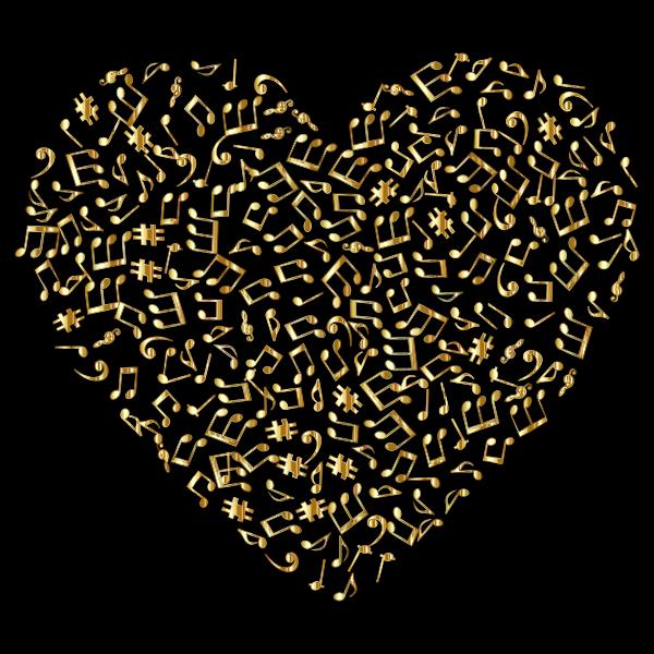 Gold Musical Heart 4