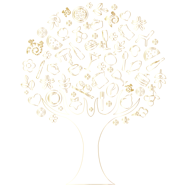 Gold Outline Abstract Tree No Background