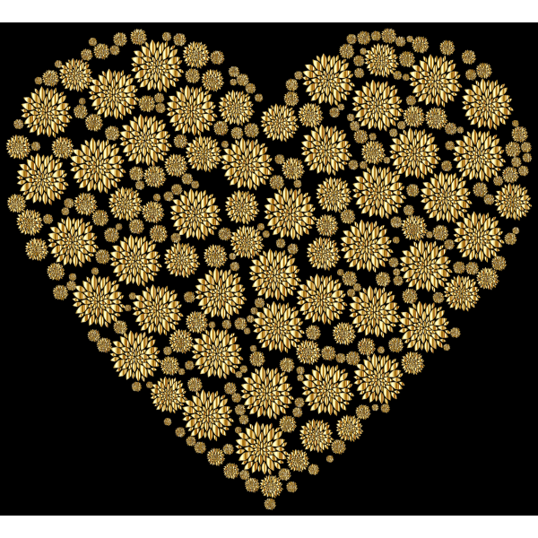 Gold Petals Heart With Background