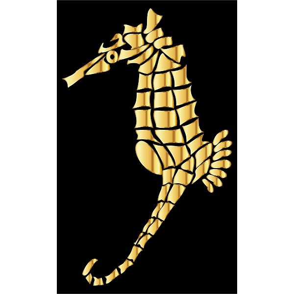 Gold Stylized Seahorse Silhouette
