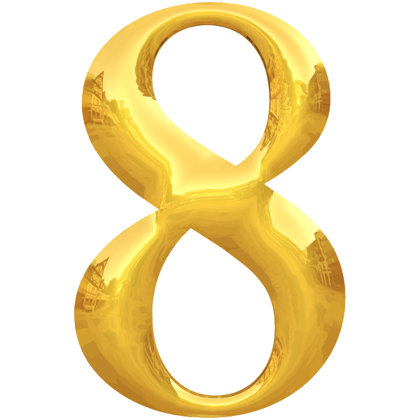 Gold typography number 8