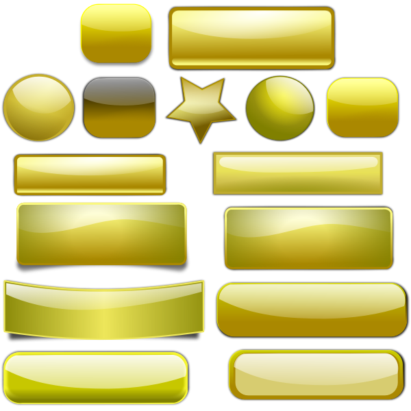 Golden Buttons Vector Set