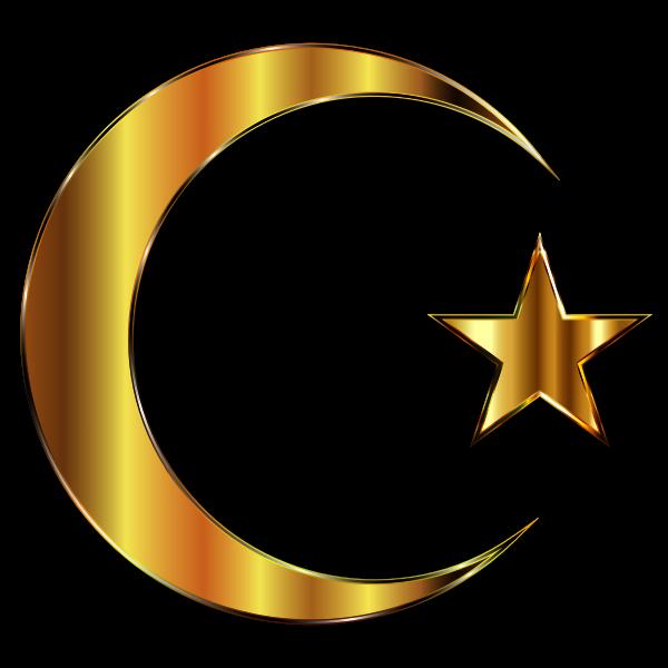 Golden Crescent Moon And Star Enhanced 2