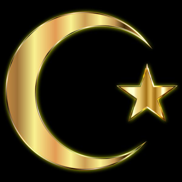 Golden Crescent Moon And Star Enhanced