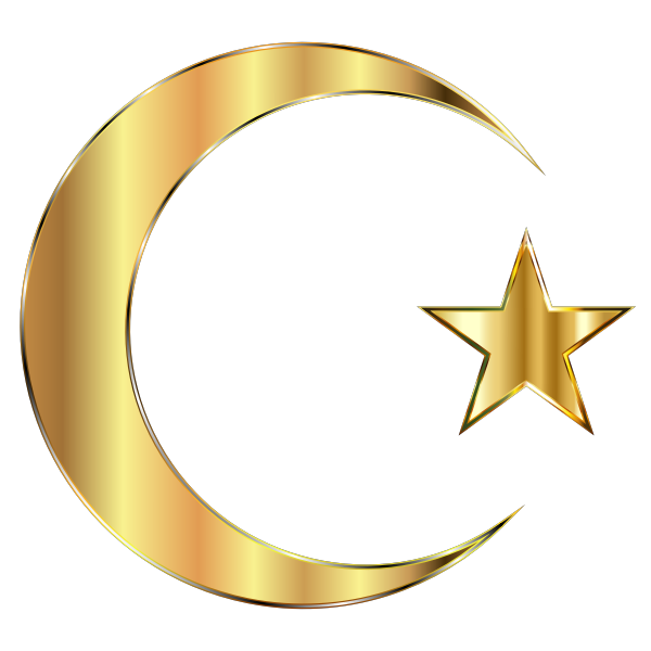 Golden Crescent Moon And Star Without Background