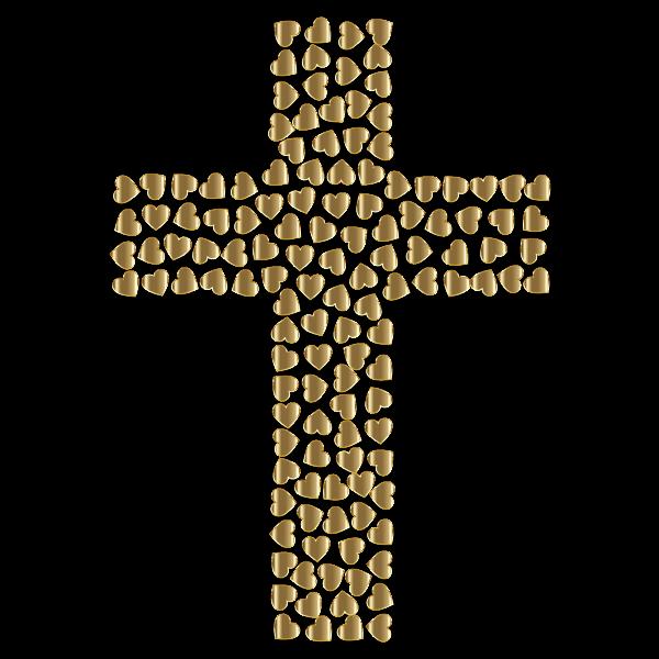 Golden Hearts Cross No Background