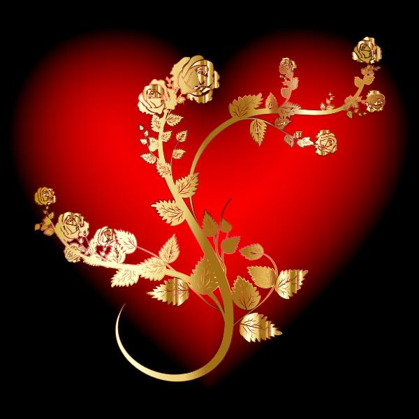 Golden Rose Heart