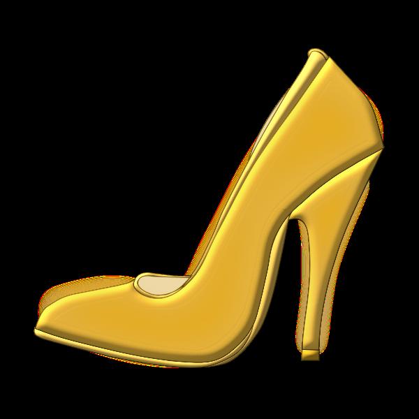 Vector image of golden high heel shoe