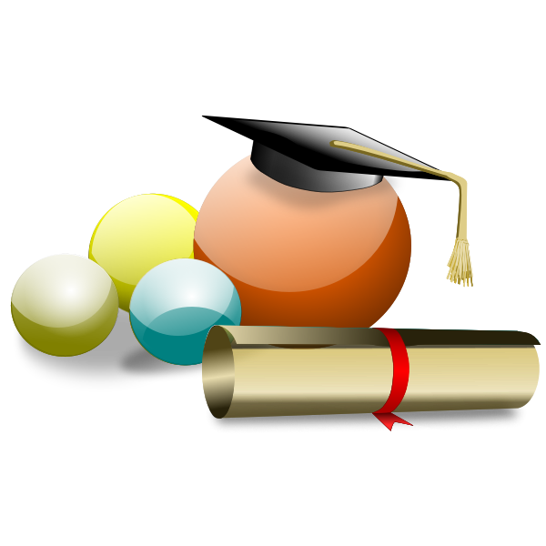 Graduate student hat and degree vector illustration