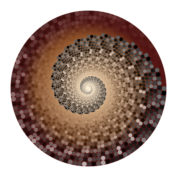 Grayscale Swirling Circles Vortex Variation 5