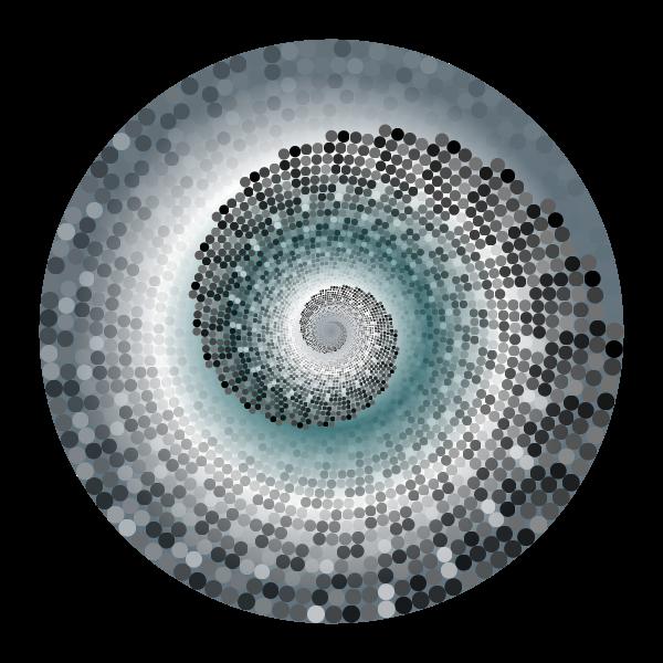 Grayscale Swirling Circles Vortex Variation 7