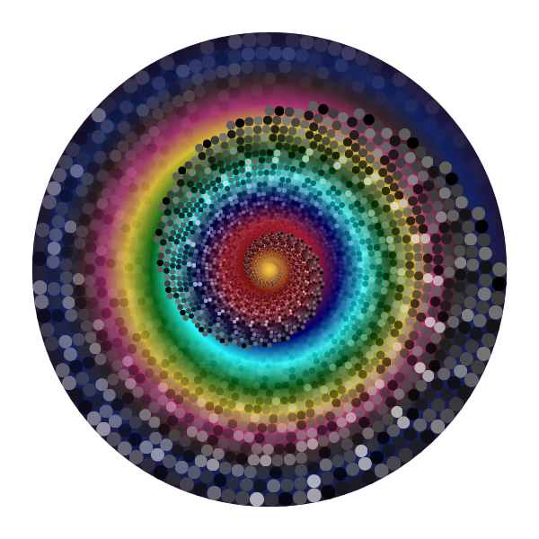 Grayscale Swirling Circles Vortex Variation 9