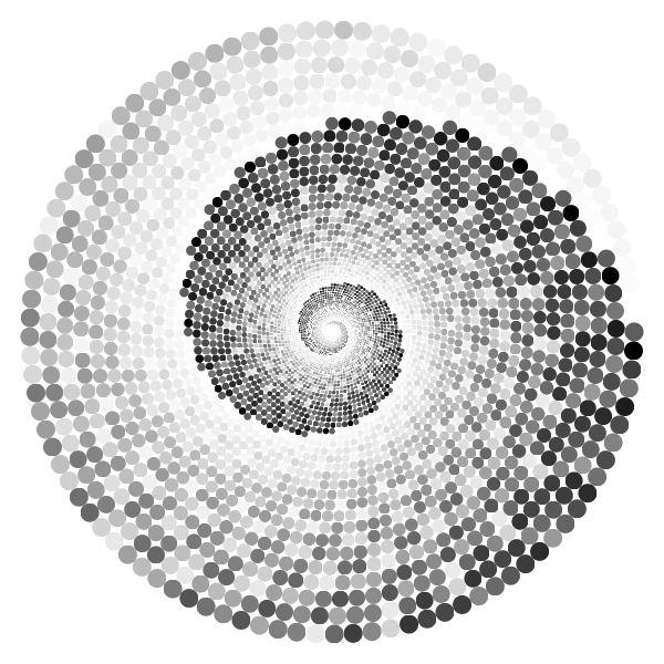 Grayscale Swirling Circles Vortex