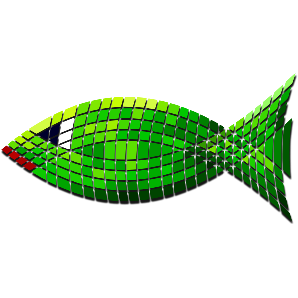 Vector clip art of tiled green fish