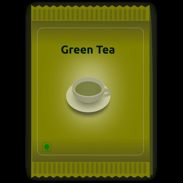 Green tea sachet vector image