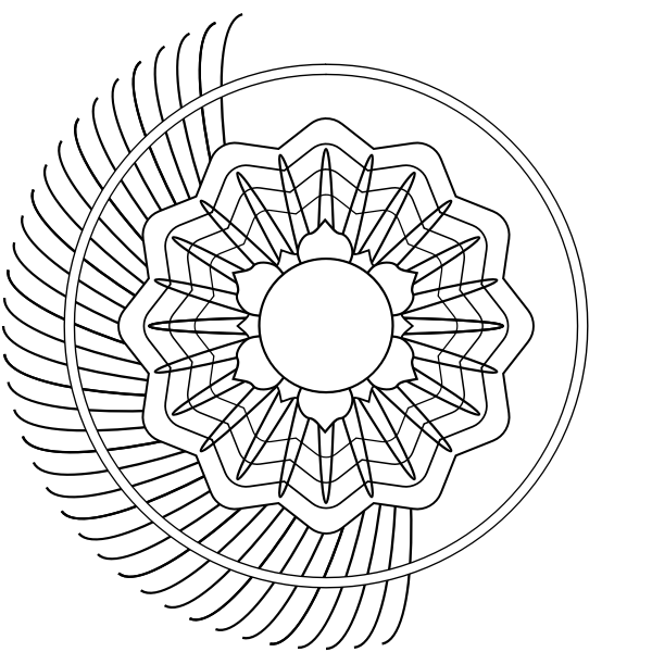 Half of a blooming flower vector image