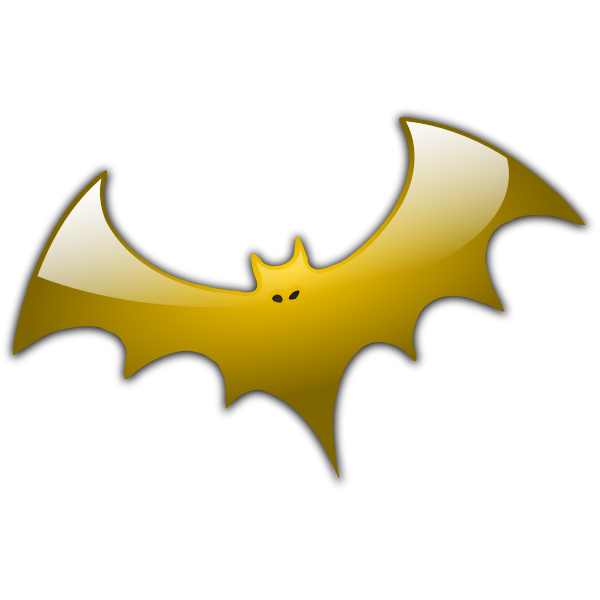 Yellow bat silhouette vector illustration