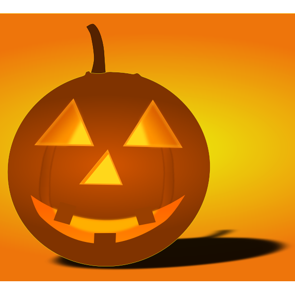 Lit-up Halloween pumpkin with shadow vector image