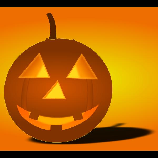 Lit-up Halloween pumpkin with shadow vector image