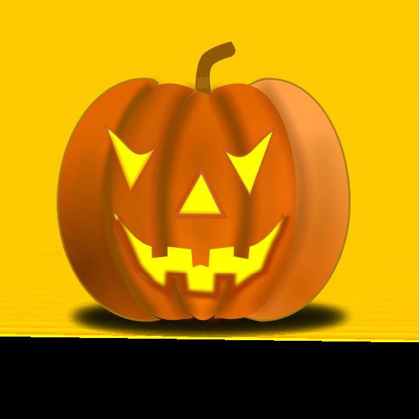 Vector illustration of Halloween pumpkin on yellow background