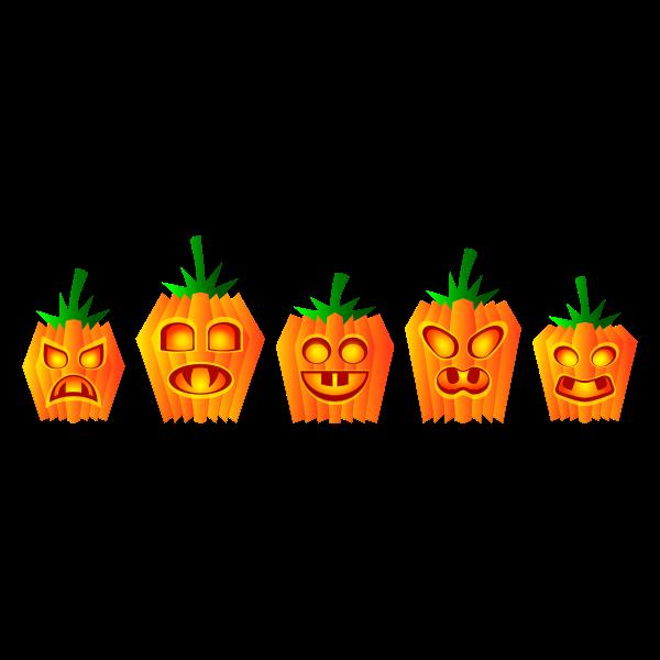 Selection of Halloween pumpkin vector illustration