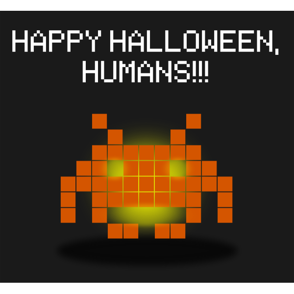 Space invaders pumpkin vector graphics
