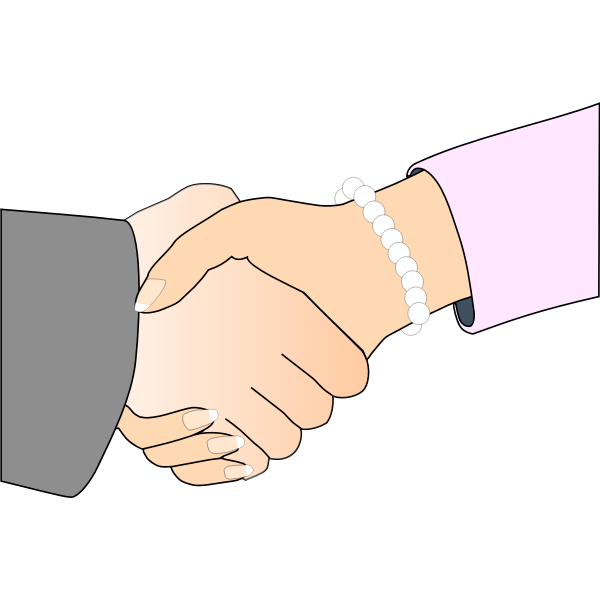 Man and woman handshake vector illustration