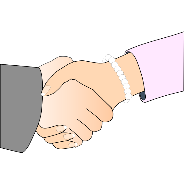 Handshake man and woman vector